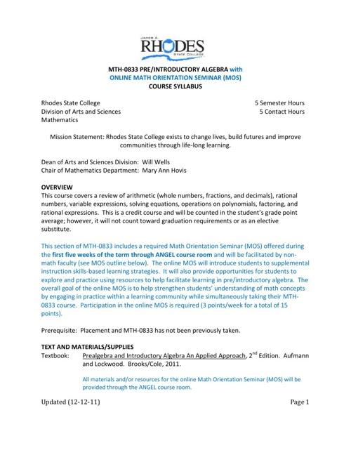 MTH0883 Online Math Orientation Seminar Syllabus