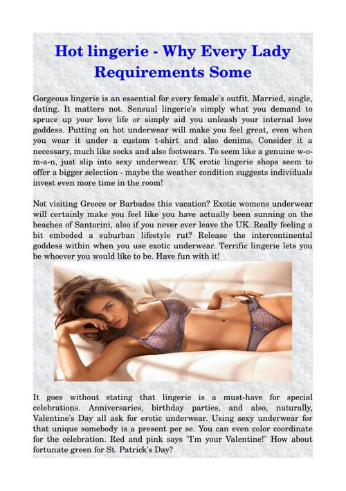 Hot lingerie - Why Every Lady Requirements Some