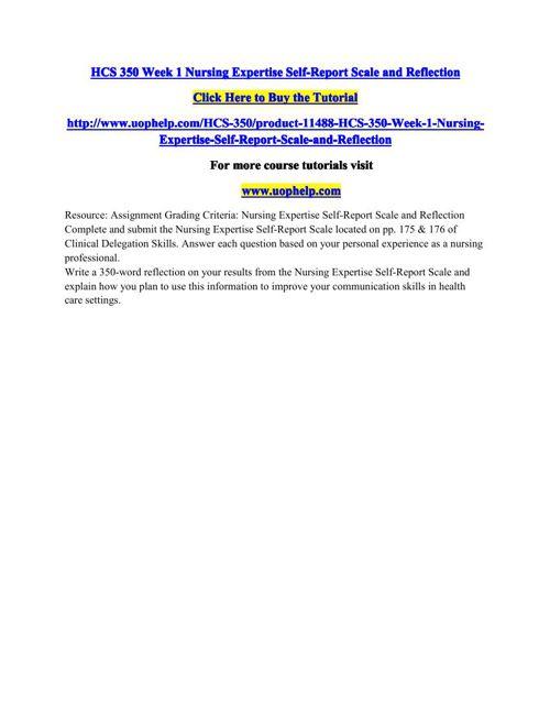 HCS 350 Week 1 Nursing Expertise Self