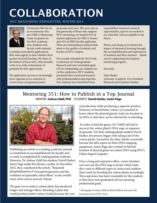 Winter 2013 - Mentoring Newsletter - Brigham Young University