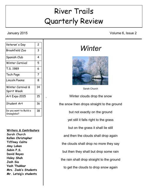 River Trails Quarterly Review 2nd Quarter 2015