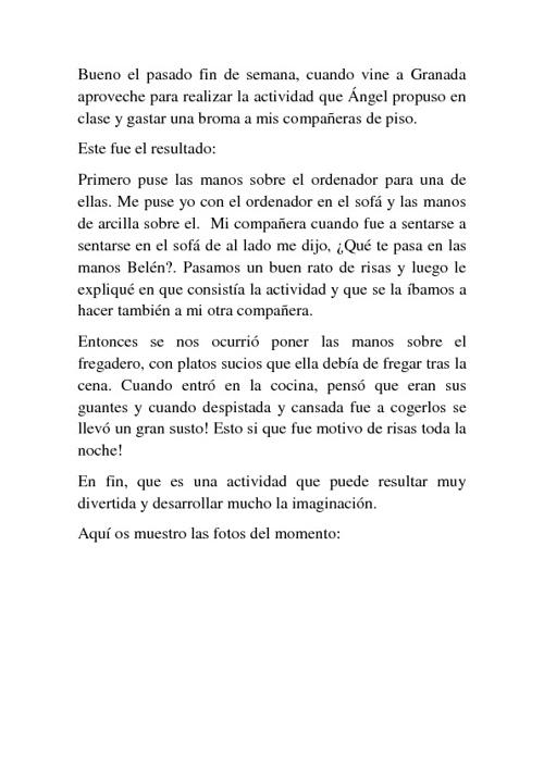 INTERVENCIÓN DEL ESPACIO DOMÉSTICO CON LAS MANOS DE ESCAYOLA