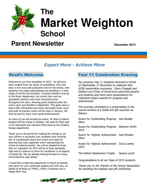 December 2013 Parent Newsletter
