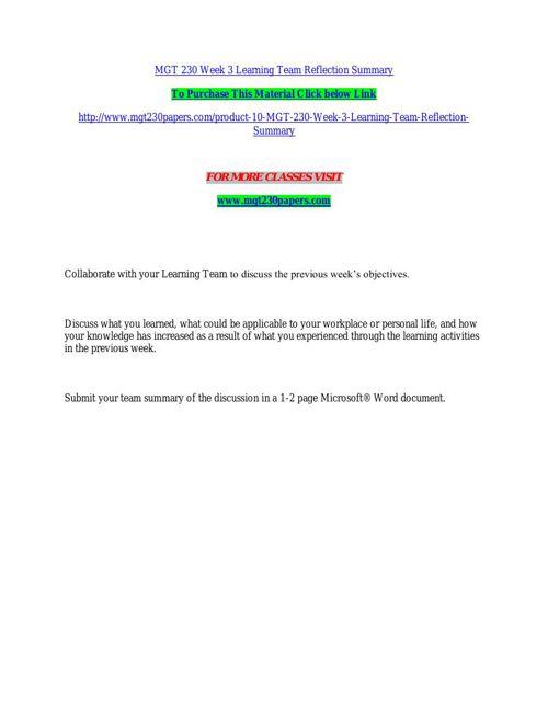 MGT 230 Week 3 Learning Team Reflection Summary