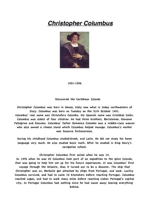 Christopher Columbus (Christoforo Colombo)
