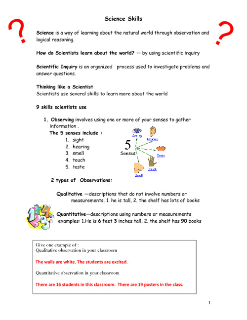 Science Skills Notes