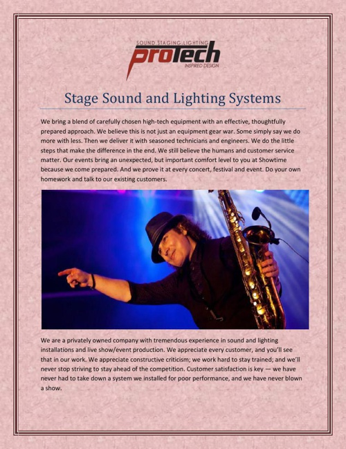 Stage Sound and Lighting Systems