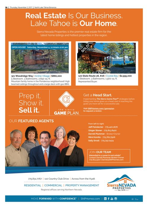 SNP Ad in the Tahoe Bonanza Ad Nov. 2