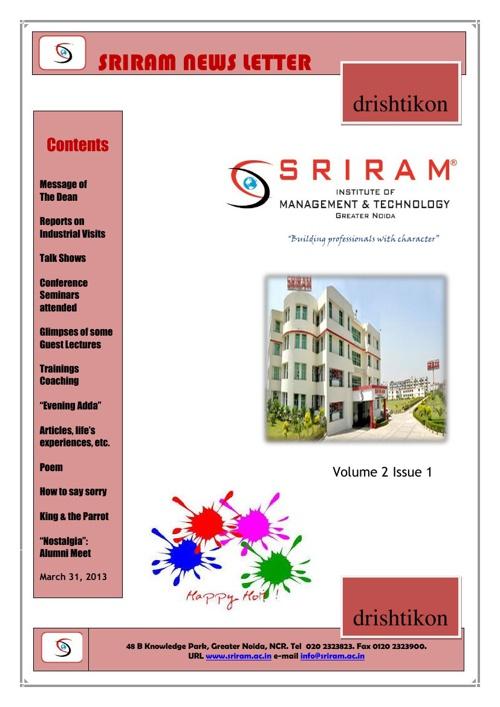Sriram News Letter - March 31, 2013