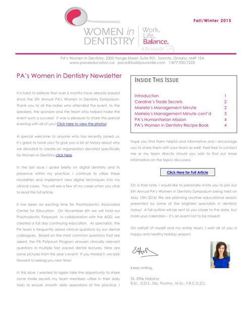 Fall 2015 PA Women in Dentistry Newsletter