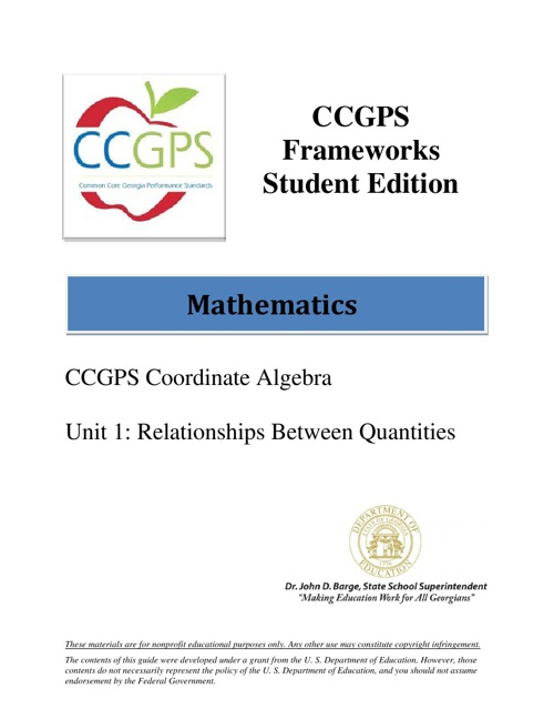 CCGPS Frameworks Unit 1: Relationships Between Quantities