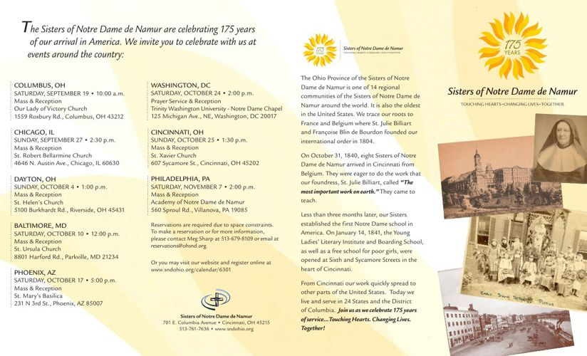 SNDdeN 175th Anniversary Brochure