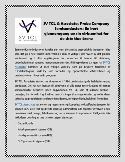 SV TCL & Associates Probe Company Semiconductors: En kort gjenno