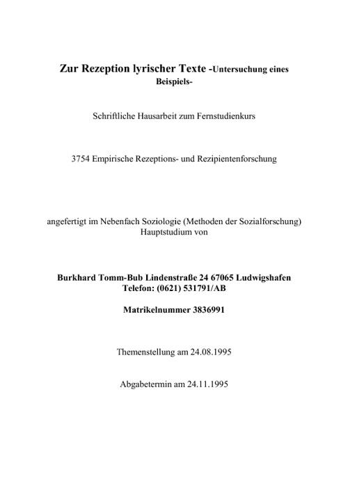 Zur Rezeption lyrischer Texte (B.T-B)