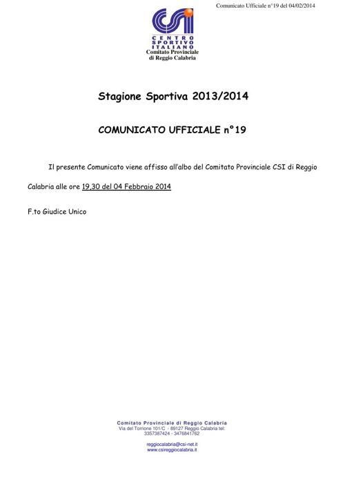 comunicato-ufficiale-n°19-del-04-Febbraio-2014
