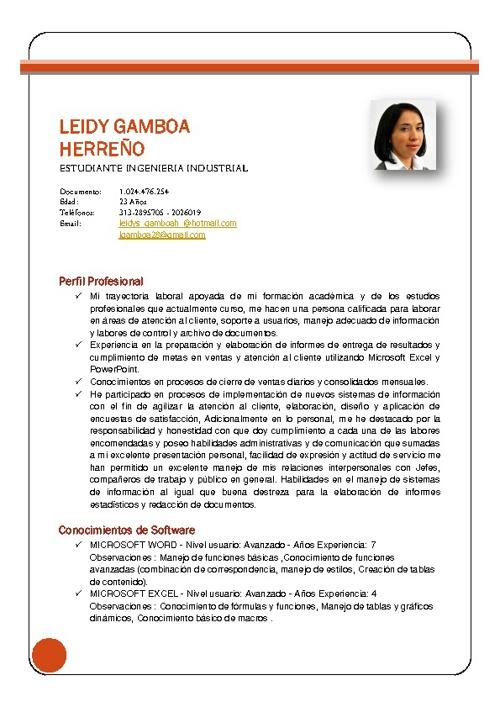 Leidy Gamboa Herreño - Estudiante Ingeniería Industrial