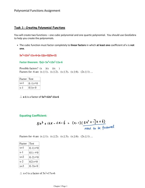 Polynomial Functions Assignment