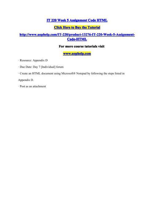 IT 220 Week 5 Assignment Code HTML