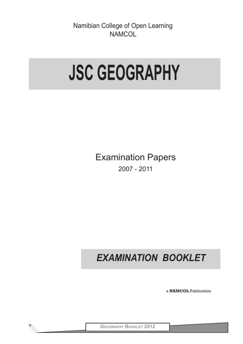 JSC Geography Examination Booklet (2007 - 2011)