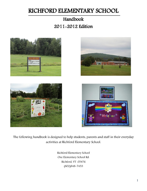 Richford Elementary School's Handbook 2011-2012