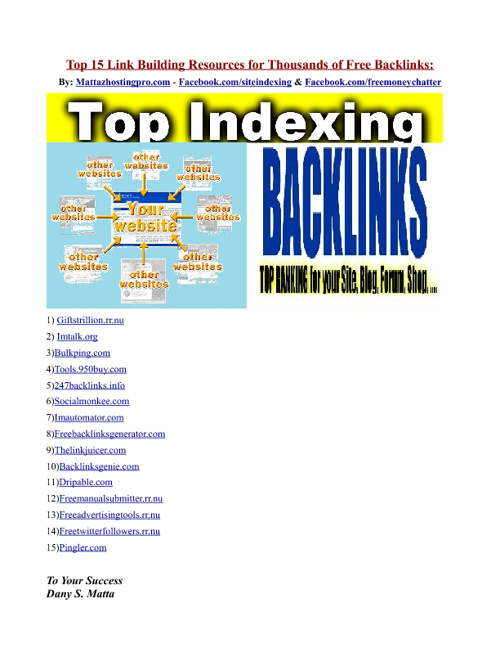 Top 15 Link Building Resources For Thousands Of Free Backlinks