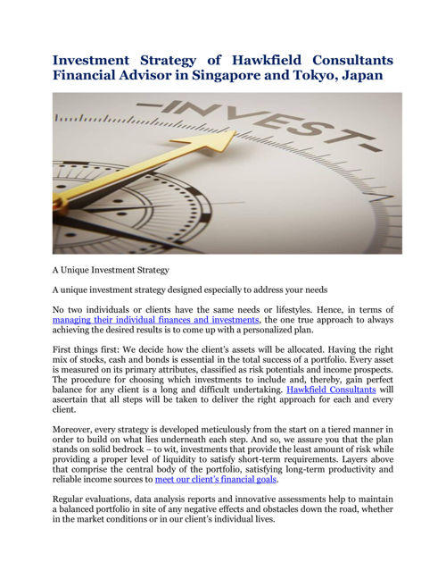Hawkfield Consultants Financial Advisor in Singapore