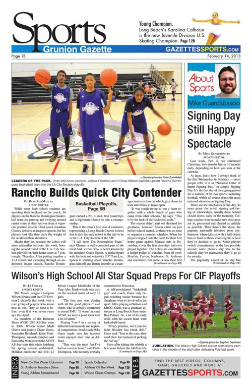 Gazette Sports   February 14, 2013