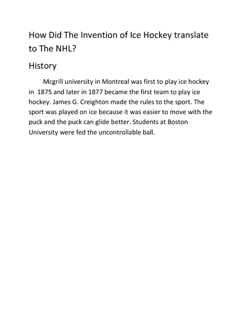 How did the Invention of Hockey Translate to the NHL