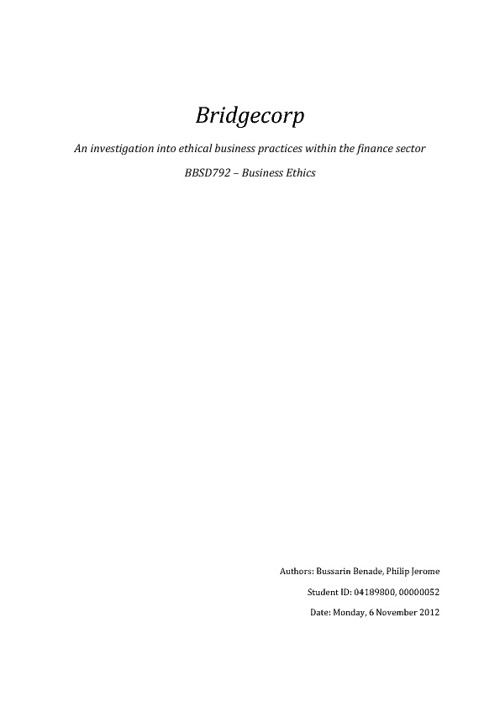 Bridgecorp: An investigation into ethical business practices