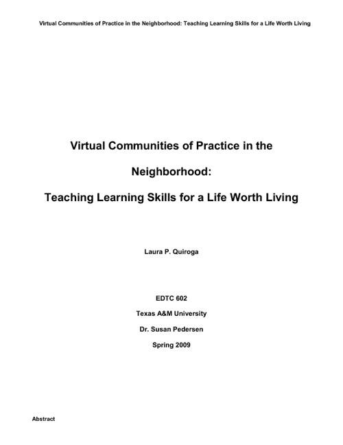 Virtual Communities of Practice in the Neighborhood