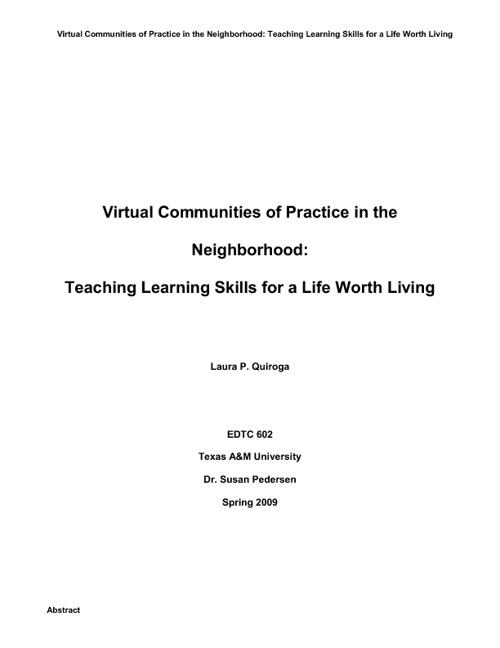 Virtual Communities of Practice in the Neighborhood