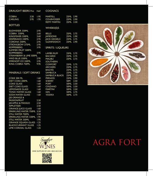 Agra Fort Drinks Menu