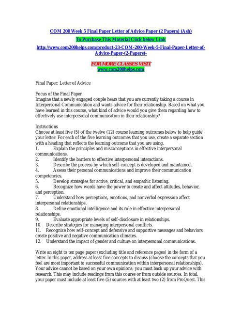 COM 200 Week 5 Final Paper Letter of Advice Paper (2 Papers) (As