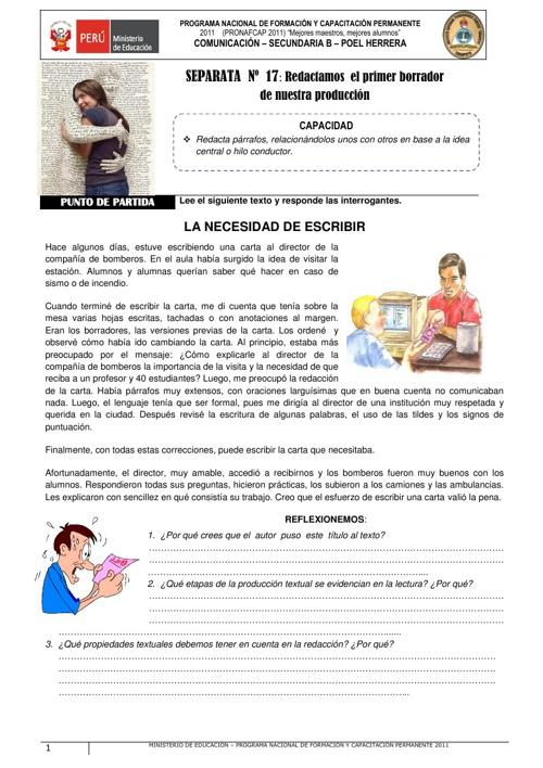 REDACCIÓN DEL PRIMER BORRADOR