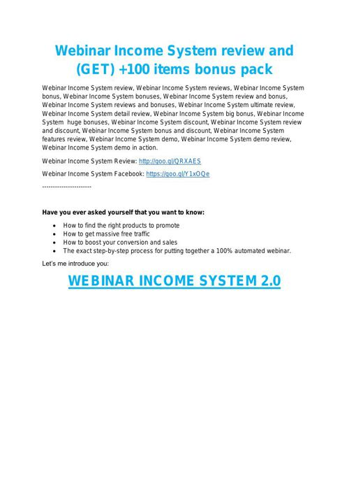 Webinar Income System review in particular - Webinar Income Syst