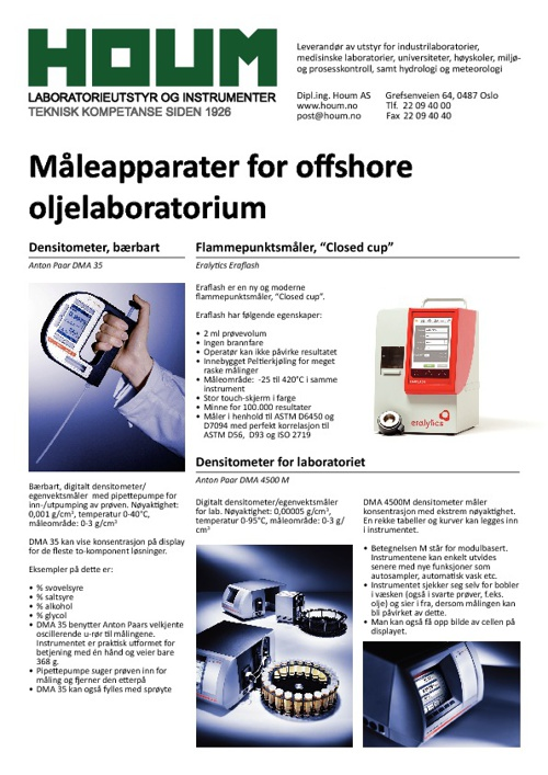 Måleapparater for offshore oljelaboratorium