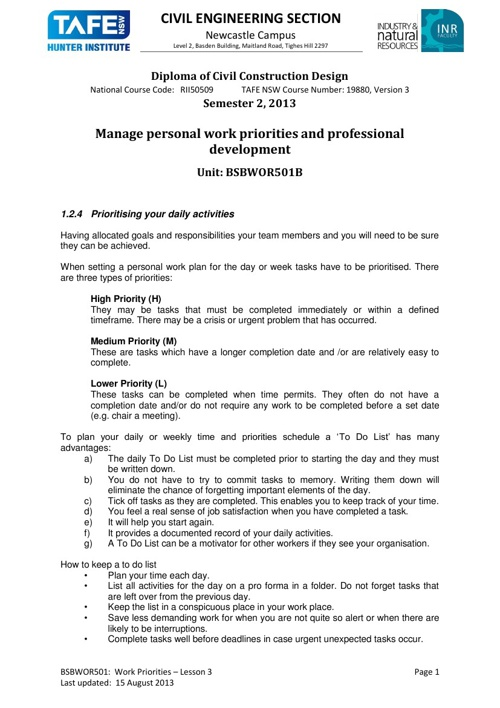 BSBWOR501B Week 3 Manage Personal Work Priorities
