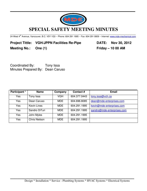 VGH-JPPN RePipe Project Meeting Minutes