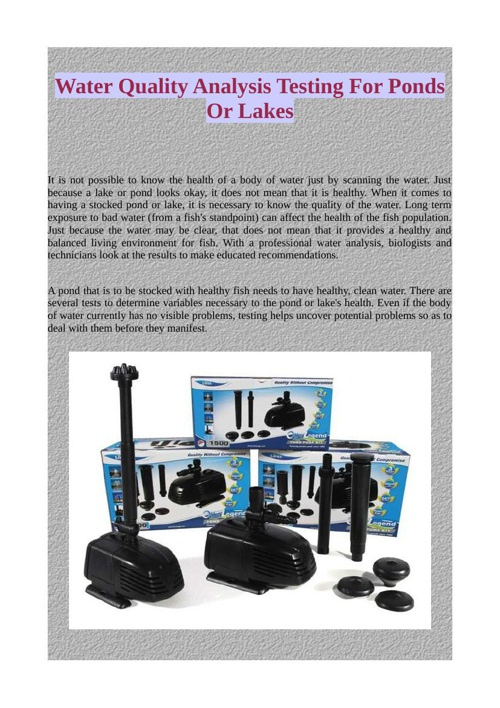 Water Quality Analysis Testing For Ponds Or Lakes