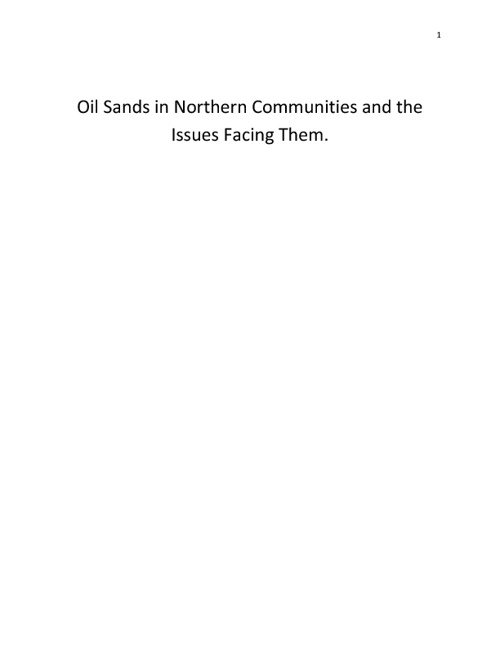 Oil Sands in Northern Communities