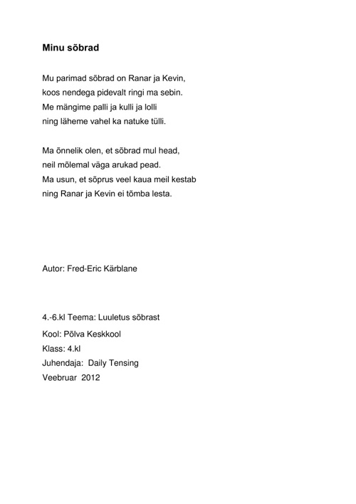 4.klassi luuletused