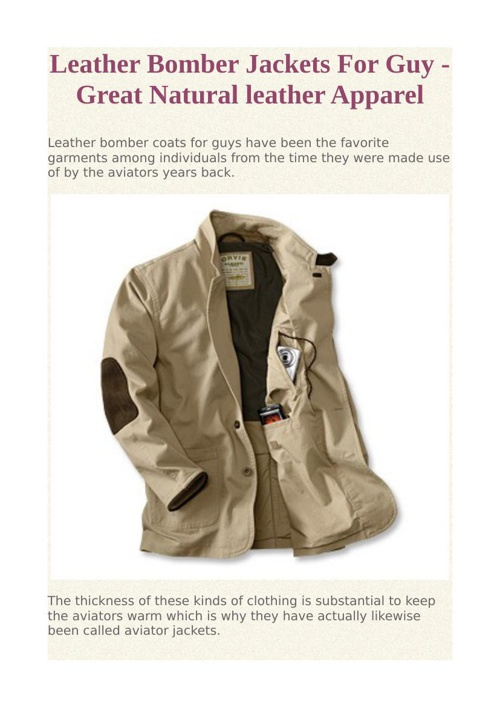 Leather Bomber Jackets For Guy - Great Natural leather Apparel