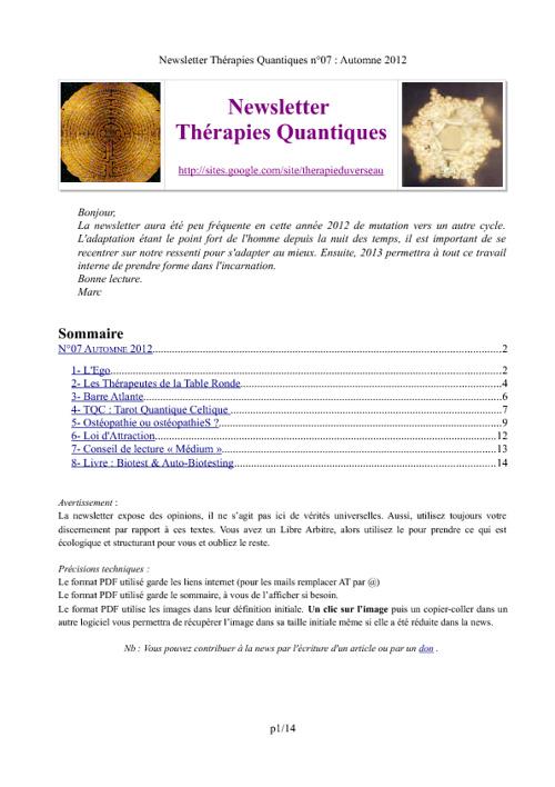 Newsletter Thérapies Quantiques n°07
