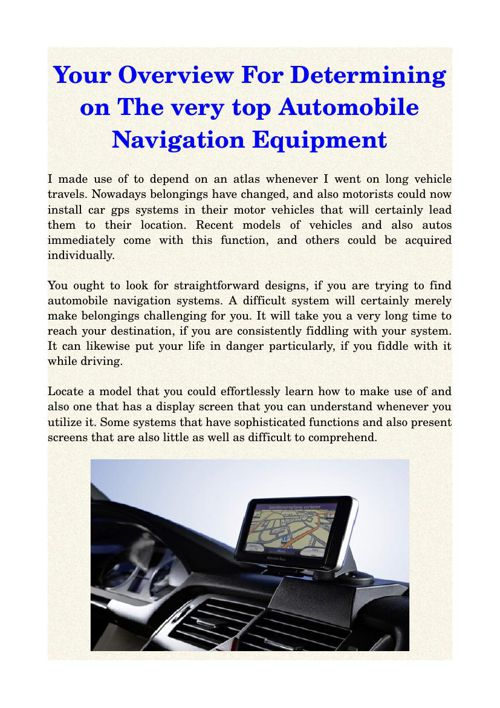 Your Overview For Determining on The very top Automobile Navigat