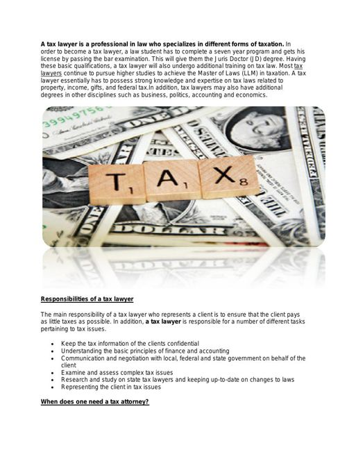 A Brief knowledge About Tax Lawyer