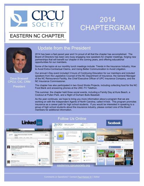 2014 Eastern NC CPCU Newsletter