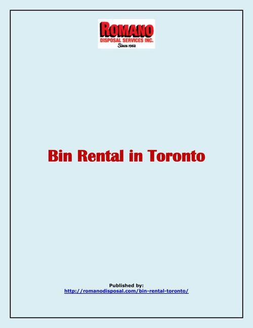 Bin Rental In Toronto
