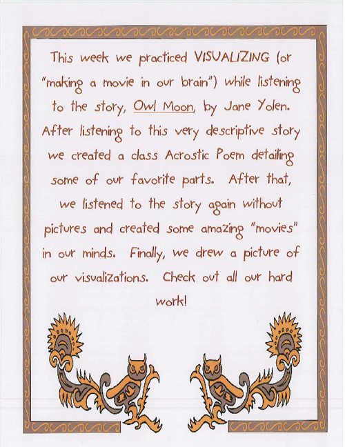 Owl Moon Acrostic Poem