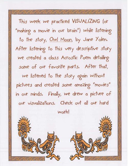 Owl Moon Acrostic Poem