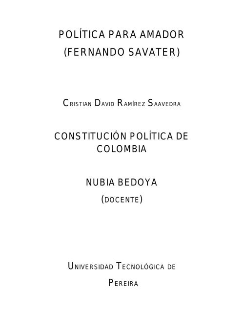 POLÍTICA PARA AMADOR CRISTIAN DAVID RAMÍREZ SAAVEDRA UTP